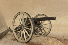 Cannon in ouarzazate kasbah. Cannon in  old traditional arab fortress In the city of Ouarzazate. Morocco Royalty Free Stock Images