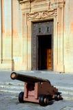 Cannon outside Mdina Cathedral, Malta. Stock Image