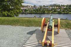 Cannon overlooking Nidelva in Trondheim Stock Photo