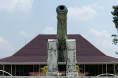 A cannon at the pakualaman palace complex, yogyakarta. Pura Pakualaman is a Kadipaten (regency) Palace as well as the dwelling of all generations and family of Royalty Free Stock Photography