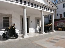 Cannon by the Palace of the Governor on the Rock of Gibraltar at the entrance to the Mediterranean Sea Stock Image