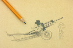 Cannon. Pencil drawing with pencil. Cannon. Pencil drawing with yellow pencil Royalty Free Stock Image