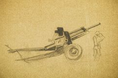 Cannon. Pencil hand drawing Royalty Free Stock Images
