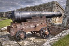 Cannon. A photo of a cannon in HDR royalty free stock photos