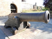 Cannon. Photography of old iron cannon, ancient artillery gun at Belgrade Fortress, Serbia stock image