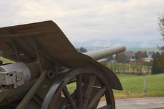 Cannon pointed toward the town of Asiago from WAR MEMORIAL Royalty Free Stock Photo