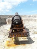 Cannon pointing at Habana port. In summer during the season in Cuba Stock Photo