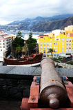 Cannon pointing to boat royalty free stock images