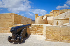 Cannon pointing to the Citadel, Gozo Stock Photo