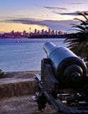 Cannon pointing to Sydney. Old cannon, taken at dusk, pointing into Sydney Harbour Stock Images