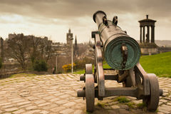 Cannon pointing towards the city Royalty Free Stock Images