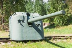 Cannon on railway. Krasnaya Gorka fort Stock Photography