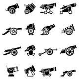 Cannon retro icons set, simple style Stock Images
