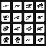 Cannon retro icons set, simple style. Cannon retro icons set. Simple illustration of 16 cannon retro vector icons for web Stock Images