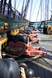 Cannon Row. Photo of row of cannons on the U.S.S. Constitution warship in Boston Harbour Massachusetts Stock Photos