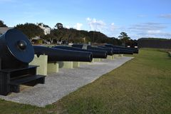 Cannon row at Fort Moultrie Charleston South Carolina royalty free stock photography
