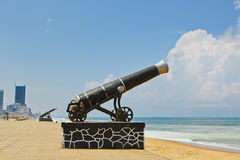Cannon on the seaside promenade Stock Photos