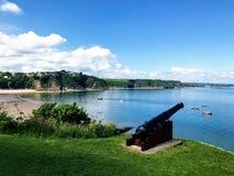 Seaside cannon, Tenby, pembroke, wales stock photos