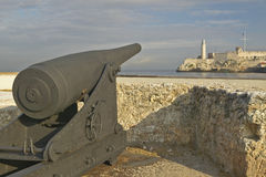 Cannon and sentry tower at El Morro Fort, Castillo del Morro, in Havana, Cuba Royalty Free Stock Images