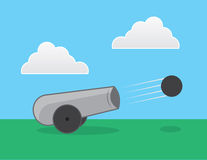 Cannon Shooting. Cannon shot outside in a field Royalty Free Stock Images