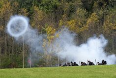 Cannon Shot Blast, Civil War Reenactment Royalty Free Stock Photos