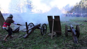 Cannon shot stock video footage
