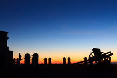 Cannon silhouette at twilight Royalty Free Stock Photography