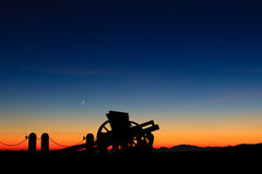 Cannon silhouette at twilight Royalty Free Stock Photos