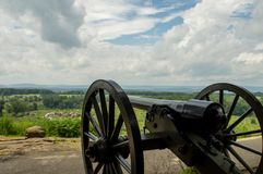 Cannon on the Hilltop. A cannon sitting on a hilltop overlooking the countryside with a commanding view Stock Photography