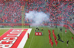 Cannon smoke at Rutgers stadium Royalty Free Stock Images