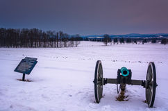 Cannon in a snow-covered field in Gettysburg, Pennsylvania. Stock Images