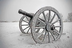 Cannon in snow storm Stock Image