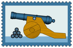 Cannon on stamp Royalty Free Stock Image