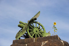 Cannon on the stone basis. Sunflower Royalty Free Stock Images
