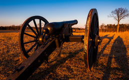 Cannon at sunset, Manassas National Battlefield Park, Virginia. Royalty Free Stock Photo