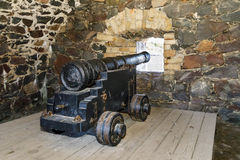 Cannon in Suomenlinna fortress area in Helsinki. Old cannons in Suomenlinna fortress area in Helsinki, Finland Royalty Free Stock Photo