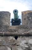 Cannon from the 16th century aiming at the bay and sea Stock Photos