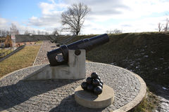 Cannon of 19th century in Daugavpils fortness. Monument of cannon of 19th century in Daugavpils fortness Royalty Free Stock Photography