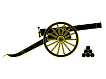 Cannon 18 th century. Vector. Cannon 18 th century.  Vector illustration, you can easily change the color and size Stock Photo
