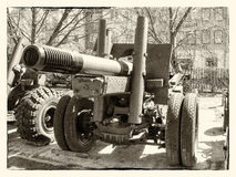 Cannon from the time of World War II. Old photo of cannon from the time of World War II Stock Photo