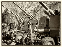 Cannon from the time of World War II. Old photo of cannon from the time of World War II Stock Image