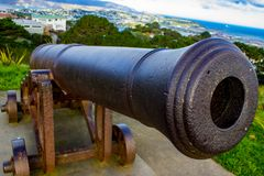 Cannon at the top Mount Victoria. Cannon at the top of Mount Victoria, Wellington, New Zealand, Aotearoa Royalty Free Stock Image