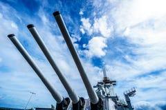 Cannon Tubes of the museum battleship USS Missouri Stock Photography