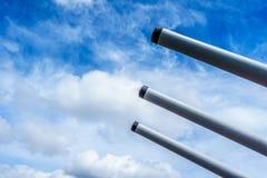 Cannon Tubes of the museum battleship USS Missouri Stock Image