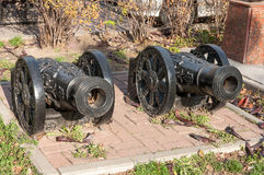 Cannon. Two cannon guns replica on the Rostov on Don street royalty free stock photos