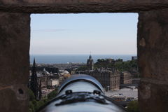 Cannon view. A cannon aiming view in Edinburgh Castle Royalty Free Stock Image