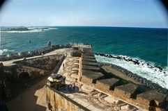 Cannon view at El Morro. View of ocean from El Morro in San Juan looking out from where the cannon sits Stock Image