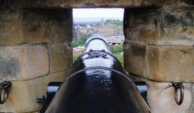 Cannon. View through gun port at Edinburgh Castle Stock Photography
