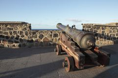 Cannon with wooden carriage Stock Photo