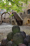 Cannonball in inner courtyard of main castle Burghausen Royalty Free Stock Photography